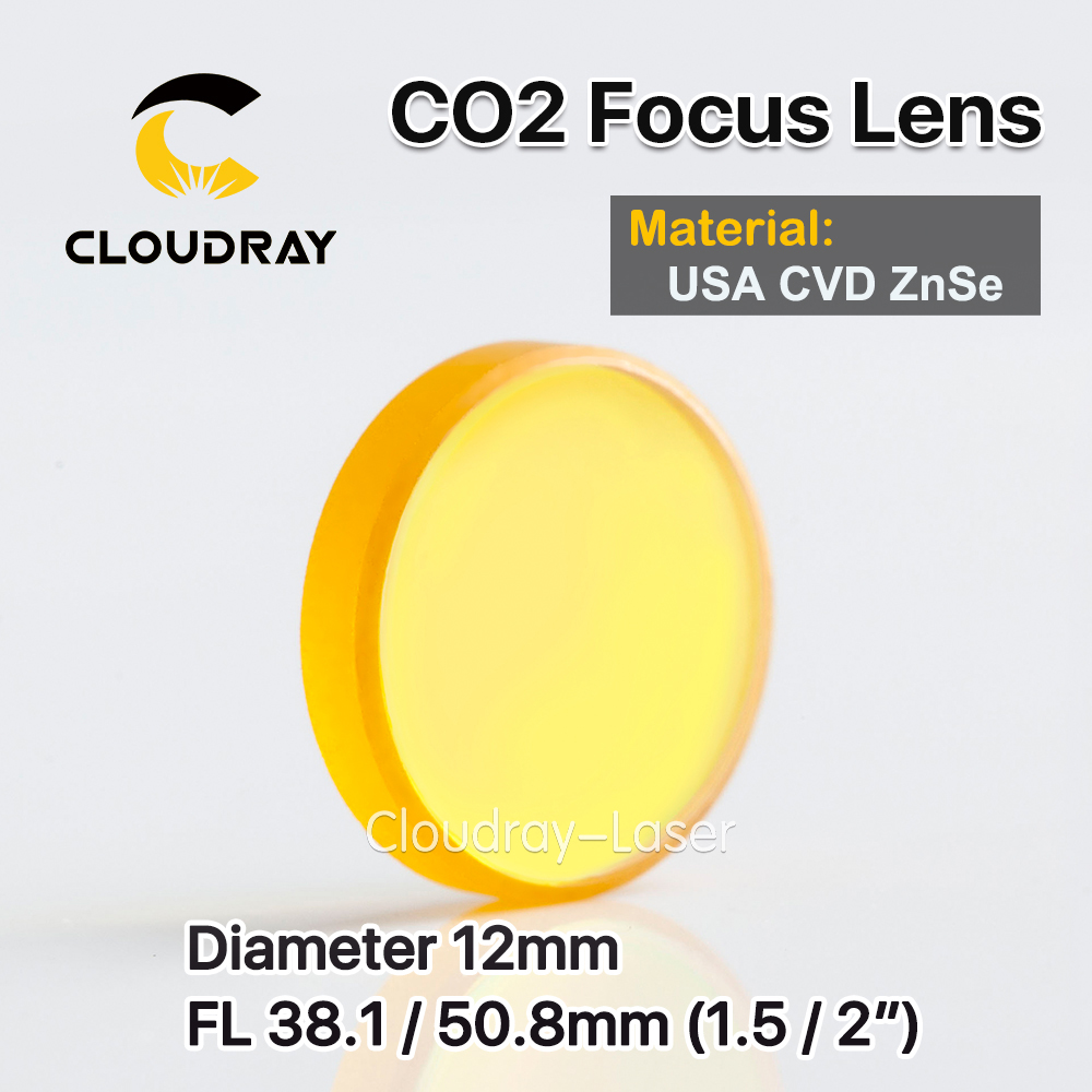 Cloudray USA CVD ZnSe Focus Lens Dia. 12mm FL 38.1/50.8mm 1.5/2 for CO2 Laser Engraving Cutting Machine Free Shipping usa cvd znse focus lens dia 28mm fl 50 8mm 2 for co2 laser engraving cutting machine free shipping