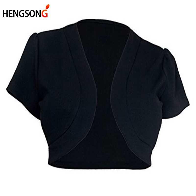 5XL 짧은 소매 자른 자켓 여성 짧은 볼레로 어깨 걸이 오픈 스티치 Jacekt 카디건 레이디 슬림 겉옷 플러스 사이즈