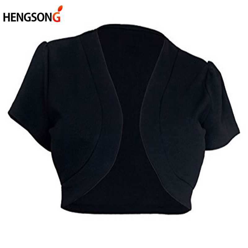 Plus Ukuran 5XL Lengan Pendek Jaket Cropped Wanita Pendek Bolero Mengangkat Bahu Jahitan Terbuka Jacekt Kardigan Wanita Slim Mantel