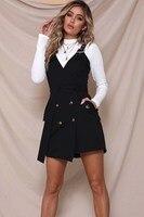 2019 Fashion Women Button Sexy Dress Party Sleeveless Casual Dress Solid Belt Tie Mini Dress