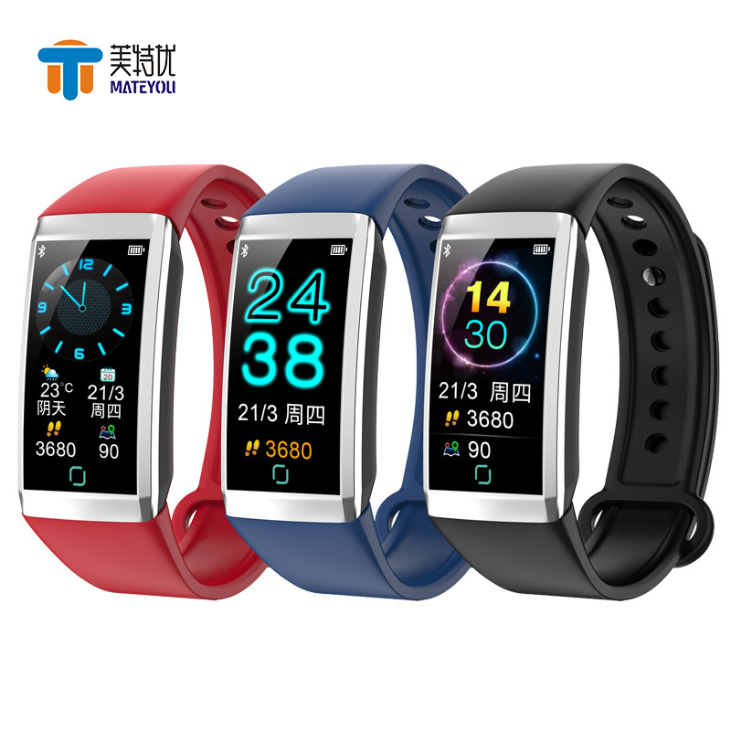 MATEYOU business fashion smart bluetooth watch color screen bracelet sports plan measurement heart rate