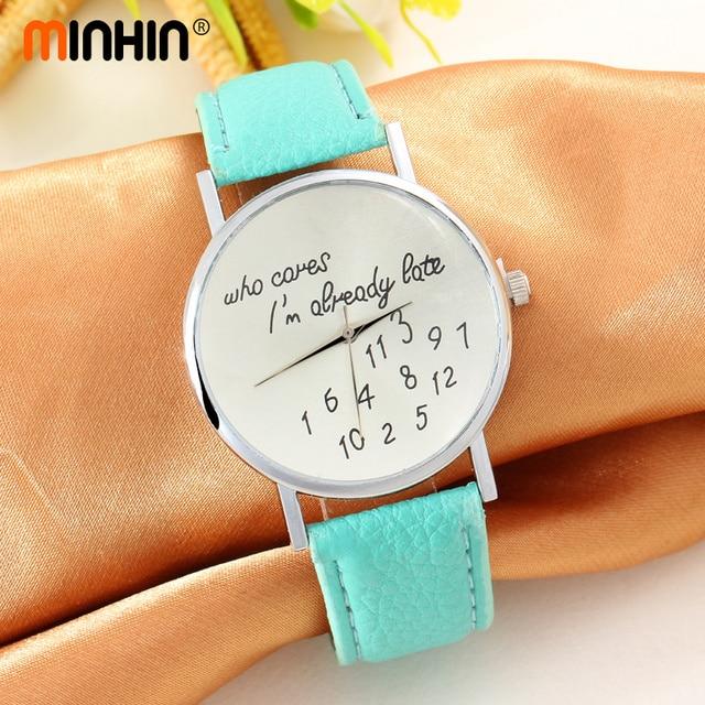 MINHIN Unique Woman Quartz Watches New Style Student Analog Leather WristWatch F