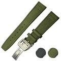 Correas de reloj Correa de Cuero Reloj de Cuero Banda de Nylon Negro Verde Broche de Plata Inoxidable Genuino Hombres Mujeres 19mm 20mm 22mm