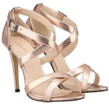 Loslandifen Crocodile Pattern High Heel Sandals Gold Black Silver Sexy Lady Party Sandals