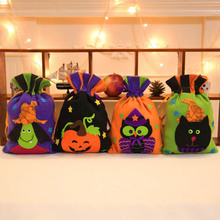 1pc Halloween Tote Bag Children's Festival Candy Bag Witch Pumpkin Drawstring Bag Party Dress Up Pro