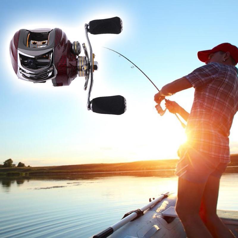 Left/Right Hand Fishing Reel Designed Magnetic Brake 17+1BB Stainless Steel Ball Bearing 6.3:1 Metal Fishing Reel 13 x 8 x 6.8cm