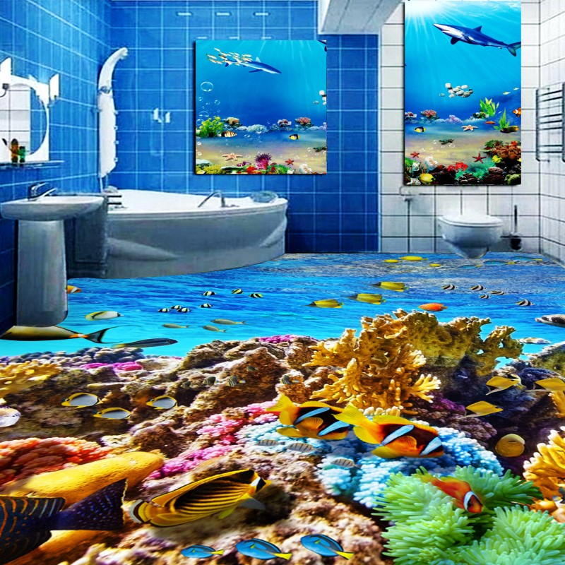 Free Shipping Fantastic Underwater World Tropical Fish Toilet Bedroom 3D Floor thickened non-slip living room flooring mural free shipping sea world dolphin 3d floor thickened wear non slip bedroom living room kitchen flooring wallpaper mural