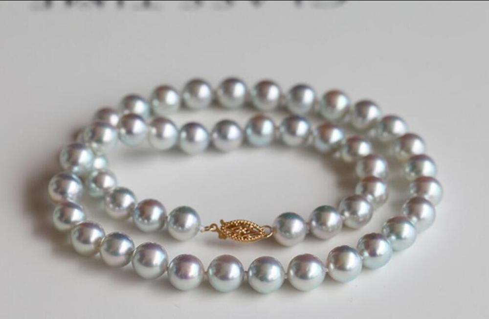 Elegant 10mm Sapphite Blue Sea Shell Pearl Necklace 18/'/'AAA