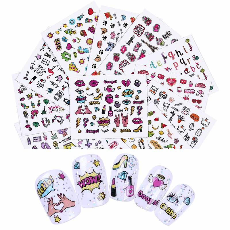 Us 0 83 35 Off Nail Art Stickers Letters Animals Self Adhesive Nail Transfer Decals Manicure Decoration For Salon Home Diy In Stickers Decals From