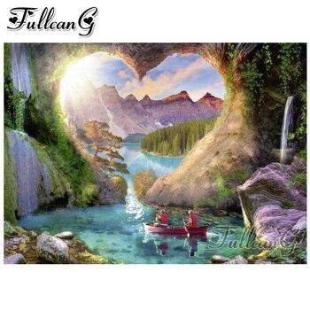 FULLCANG 5d diy diamante pintura fantasía paisaje completo cuadrado/redondo taladro mosaico bordado venta cascada paisaje regalo FC1208