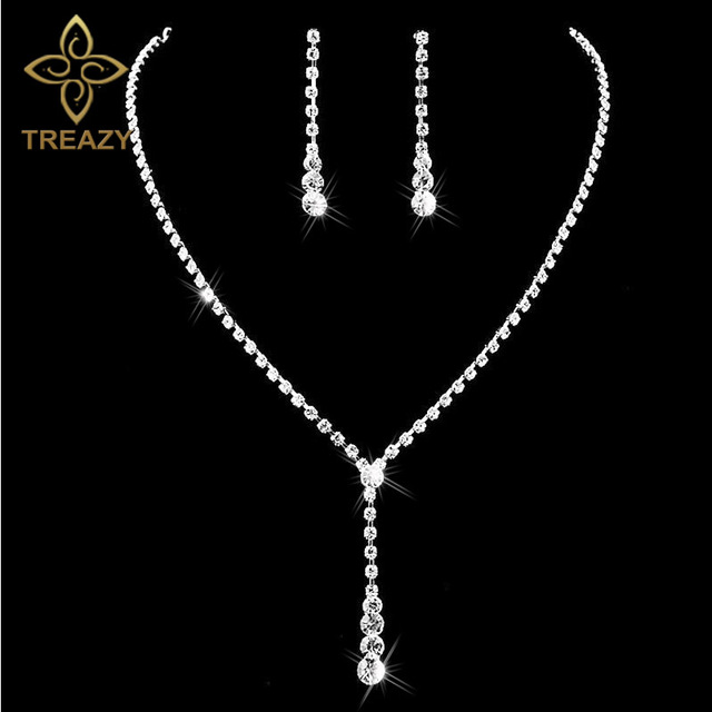 TREAZY Silver Plated Celebrity Style Drop Crystal Necklace Earrings