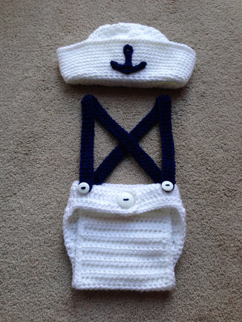 free shipping,cute crochet newborn sailor hat with matching overalls baby sets photography props 100% cotton