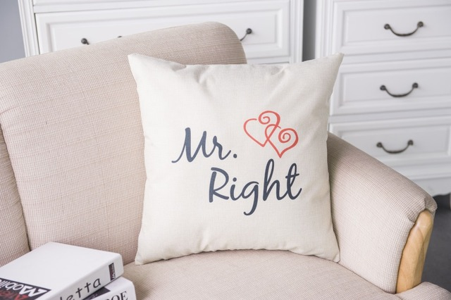 Season Life Pillow Cover MR MRS Alway Right  Heart Chair Seat Waist Square Cusion Pouch Cotton Throw Pillow Covers Textile NB110