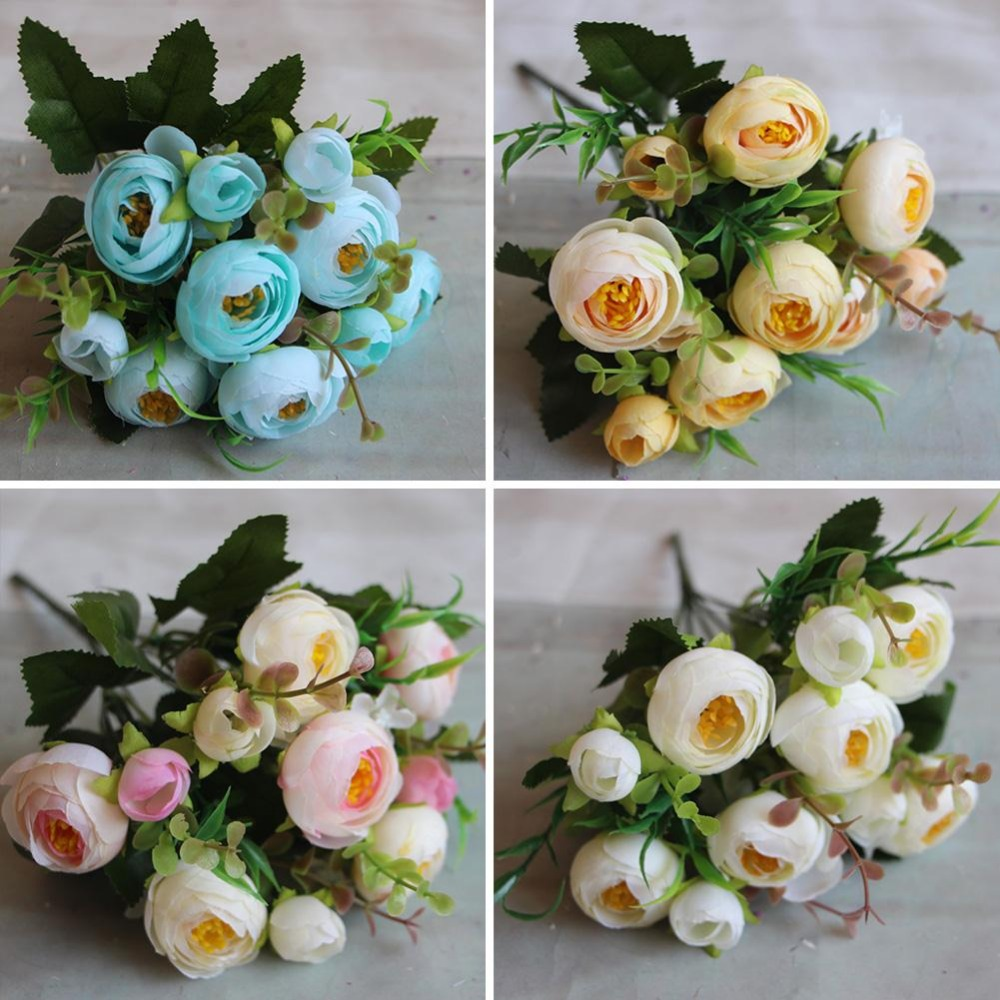 2016 Spring Rose Artificial Fake Flower Bouquet Home Hotel Room Wedding Party Garden Decor