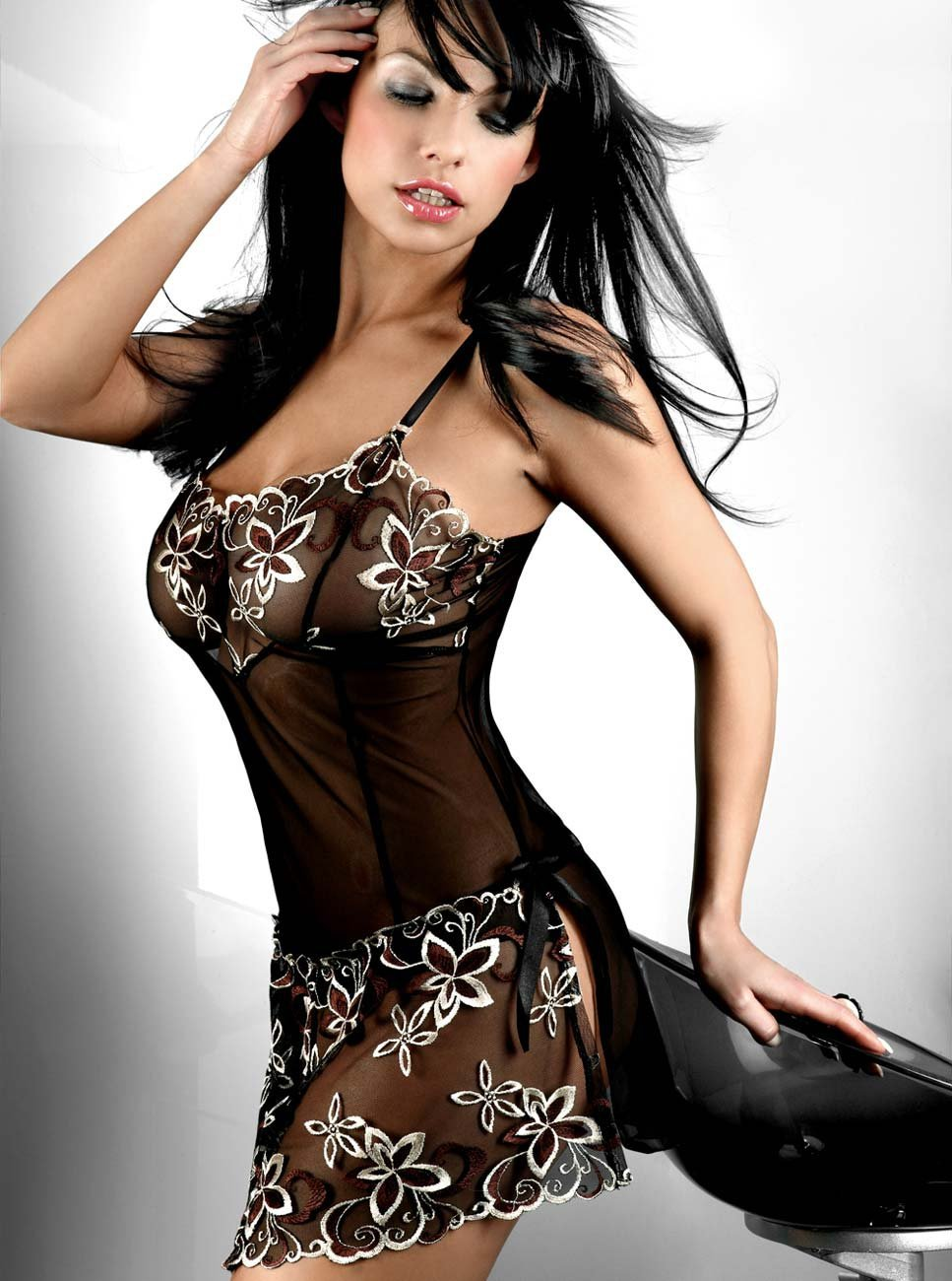 Peignoir Black Plus Size M L XL XXL <font><b>XXXL</b></font> XXXXL 4XL 5XL 6XL <font><b>Sexy</b></font> <font><b>Lingerie</b></font> <font><b>Babydoll</b></font> Front Open Nighty Chemise Dress Sleepwear image