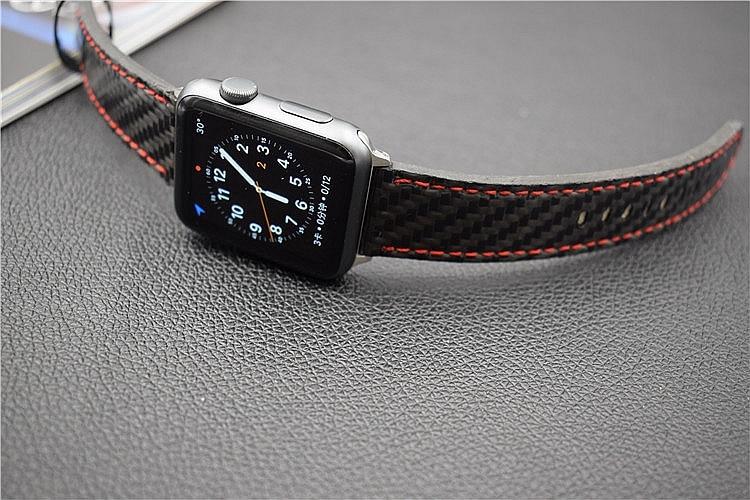For Apple Seires 4 Watch Rem ægte kulfiber læderbånd til Apple - Tilbehør til ure - Foto 2