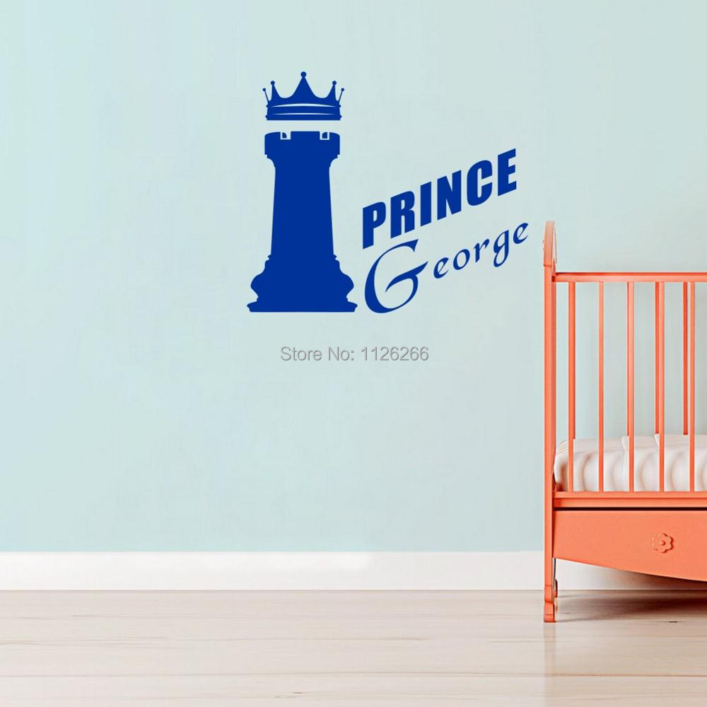 Custom Any Boys Name Wall stickers Prince Castle Creative Wall Decals for Nursery Baby Bedroom Home Decor
