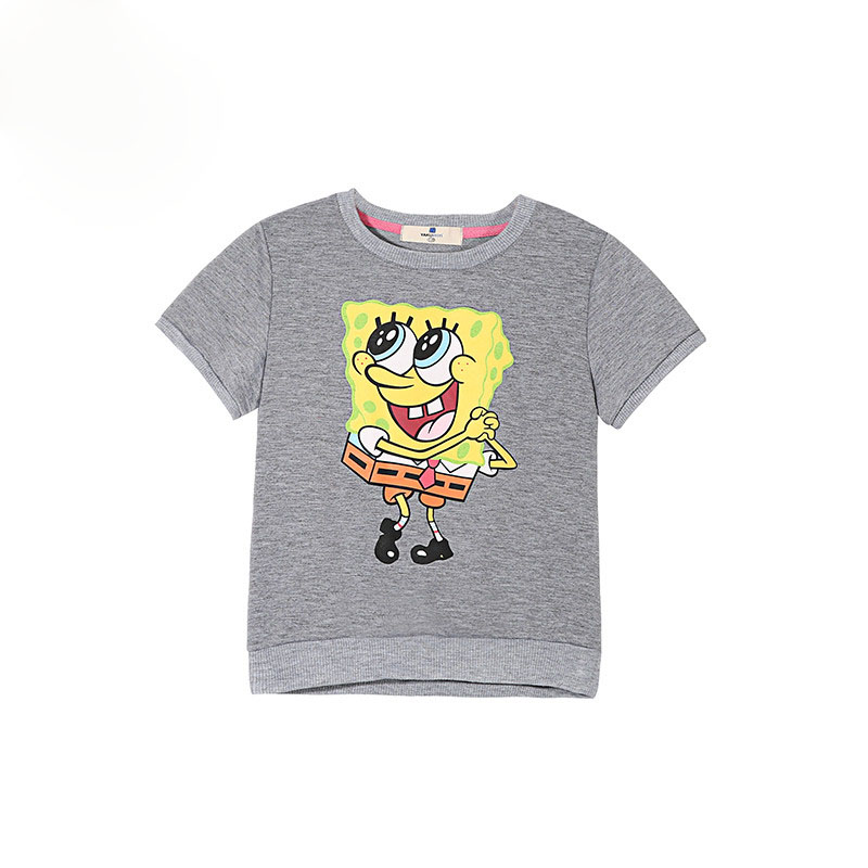 Brand Children Summer SpongeBob Cartoon T Shirts Girls Short Sleeve Tee Cotton Baby Girls Clothing Grey Girls T-Shirts