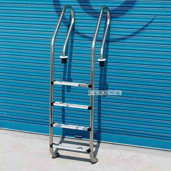 180cm Height 4 Step Skid Ladder 304 Stainless Steel In-Ground Swimming Pool Equipment Anti Skid Ladder Suit for 1.4-1.6m Depth