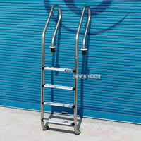 180cm Height 4 Step Skid Ladder 304 Stainless Steel In Ground Swimming Pool Equipment Anti Skid Ladder Suit for 1.4 1.6m Depth