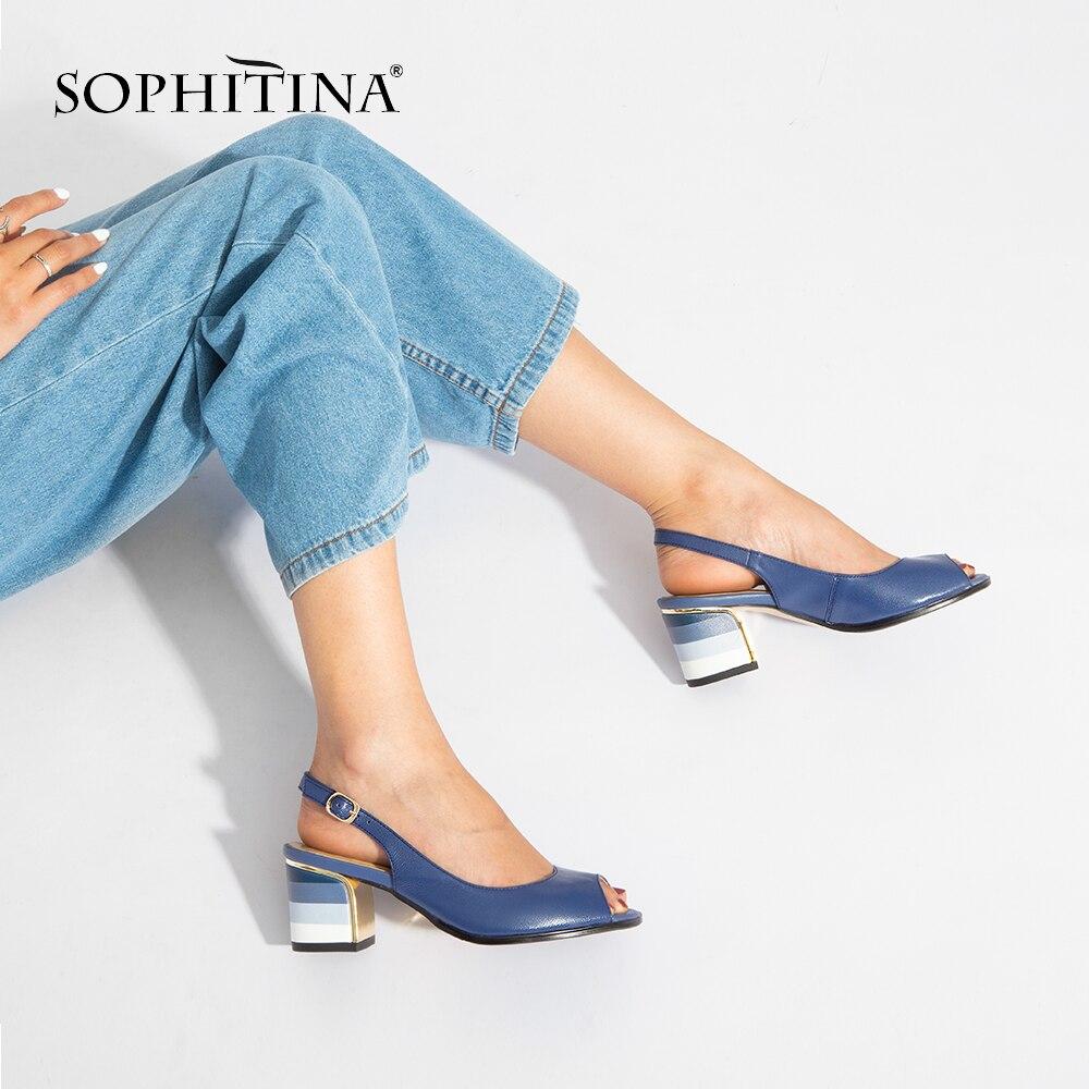 SOPHITINA Sandals Handmade Genuine Leather 2019 New Sexy Lady Peep Toe Sandals Square Heel Buckle Strap Innrech Market.com
