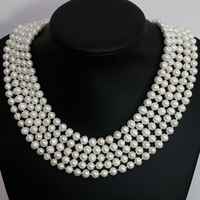 Hot sale unique design charms women natural white pearl round beads 7 8,8 9mm long chain necklace fashion jewelry 100inch B1463