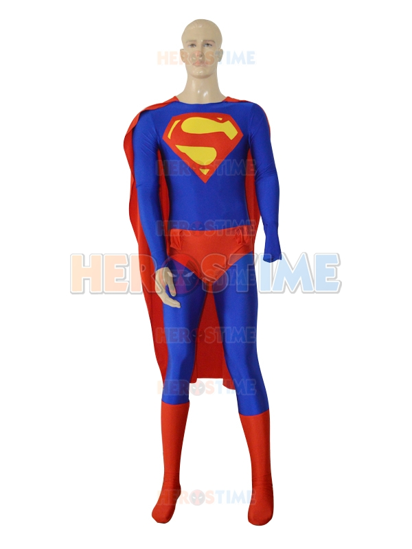 Classic Superman Costume for men Adult Superhero Costumes Carnival Costume with Cape Lycra Zentai Halloween Mens Superman suit