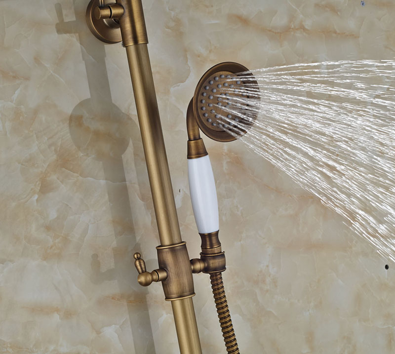 Newly Shower Faucet Mixer Tap w/ Hand Shower One Handle Antique Brass 8 Rain Bath Tub Faucet Wall Mounted