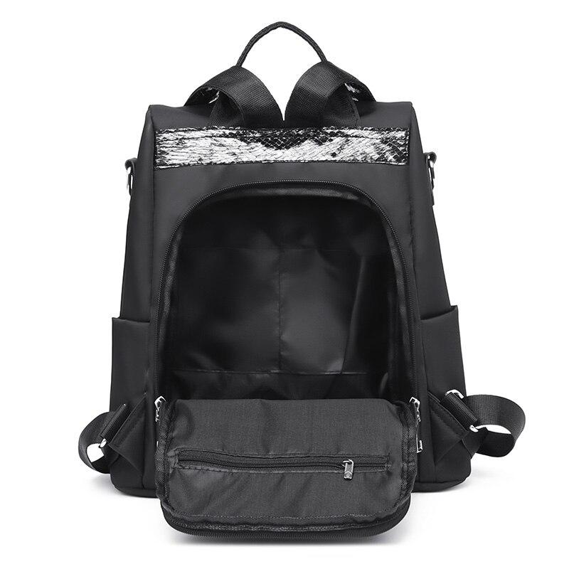 HTB1noX1MhTpK1RjSZFKq6y2wXXa3 Simple style ladies backpack anti-theft Oxford cloth tarpaulin stitching sequins juvenile college bag purse Bagpack Mochila