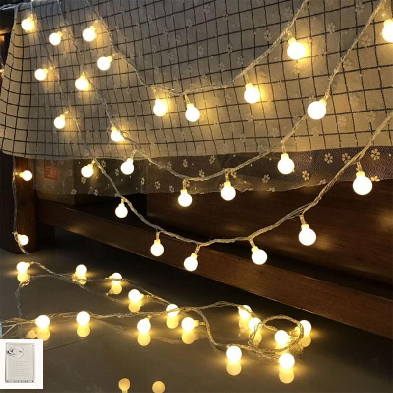 Memory Fairy String Light Ball 10M 50Led Garland Christmas Tree Pendant Light Chain Bulb Warm White Room Wall Lighting Decor