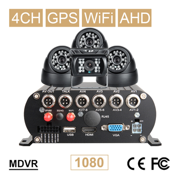 Indoor +Outdoor 2.0mp 4Pcs AHD Camera Wifi GPS HDD Hard Disk 1080P Car Mobile Dvr Kits Online Video Remote View Playback Mdvr basic dual cam system dual sd card 4 mobile dvr recorder kits for vehicle bus taxi online remote video playback cost effective