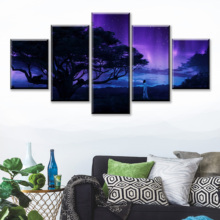 New 5 Piece HD Print Black Panther Cuadros Decoracion Landscape Canvas Wall Art Home Decor For Living Room Painting Frame