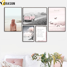Pink Sea Beach Bus Tree Cloud Landscape Wall Art Canvas Painting Nordic Posters And Prints Pictures For Living Room Decor