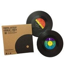 Posavasos de plástico negro Vintage resistentes al calor para CD vinyl, posavasos para mesa, posavasos para café, estera para taza, posavasos para bebidas
