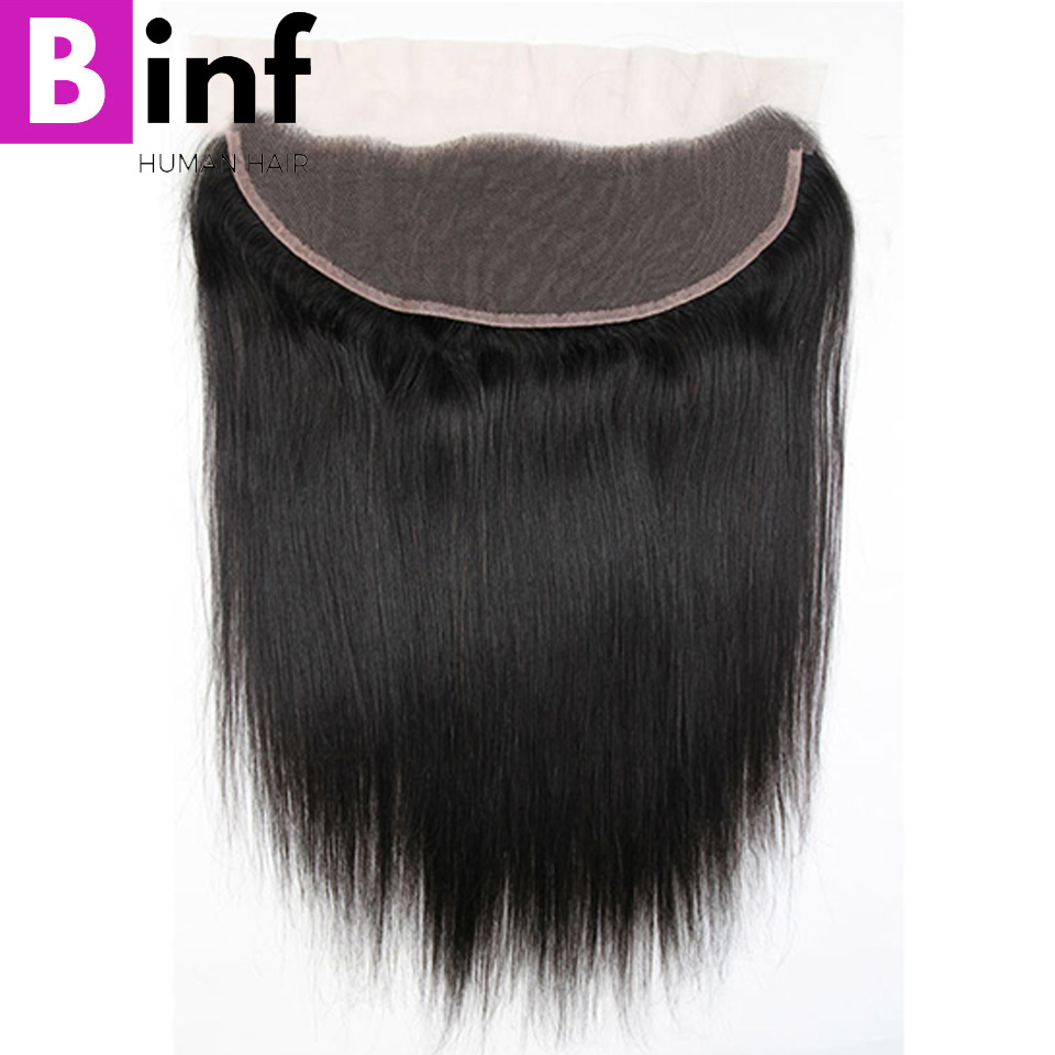 BINF Hair Indian Straight Hair 13x4 Ear To Ear Lace Frontal Closure With Baby Hair Pre Plucked Natural Colour Remy Human Hair