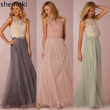 2019 New Two Pieces Lace Crop Top Tulle Bridesmaid Dresses L