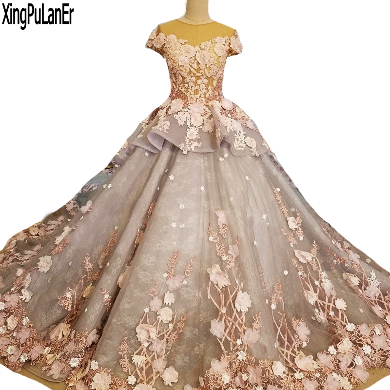 Ball Gown Long Sleeve Beaded Crystal Applique Watteau: High End Good Quality Luxury Ball Gown Scoop Neck Short