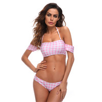 New Design Summer Geometry Printed Swimwear Women Sports Swimsuit Bikini Sexy Pink Bikinis Set Happy New