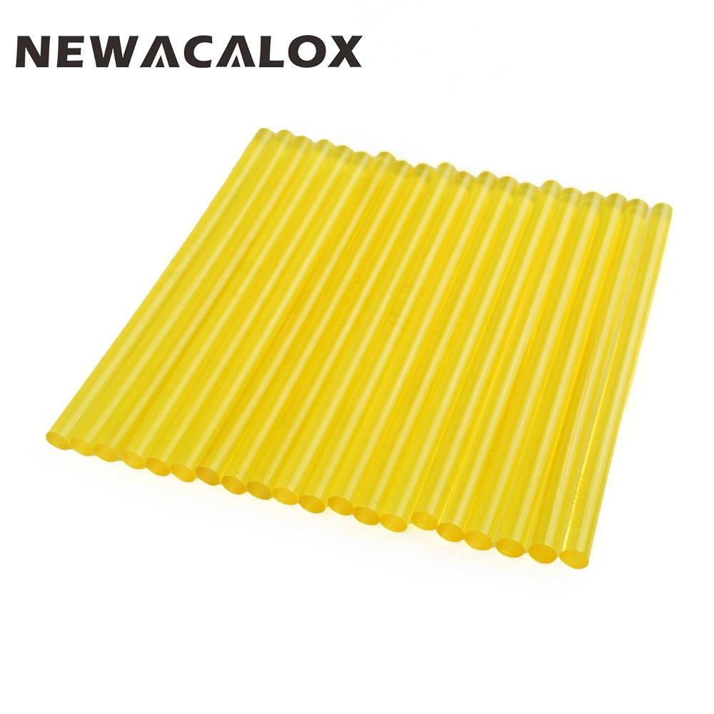 NEWACALOX 20pc Yellow 7mm Hot Melt Glue Sticks Adhesive Car Audio Craft Gun Repair DIY Tools Glue Gun Slicone Sticks