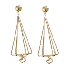 Hot Selling 3D Triangle Metal Pendant Earrings For Women Jewelry