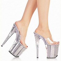 Sexy Women Crystal Slippers New Fashion 8 Inch High Heels Slippers Platforms Glitter Dance Shoes Size