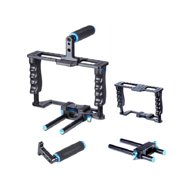 Aluminum Alloy Camera Video Cage Film Movie Making Rig Kit Video Cage+Handle Grip+Rod For Canon 5D/700D/650D Nikon D7200 DSLR