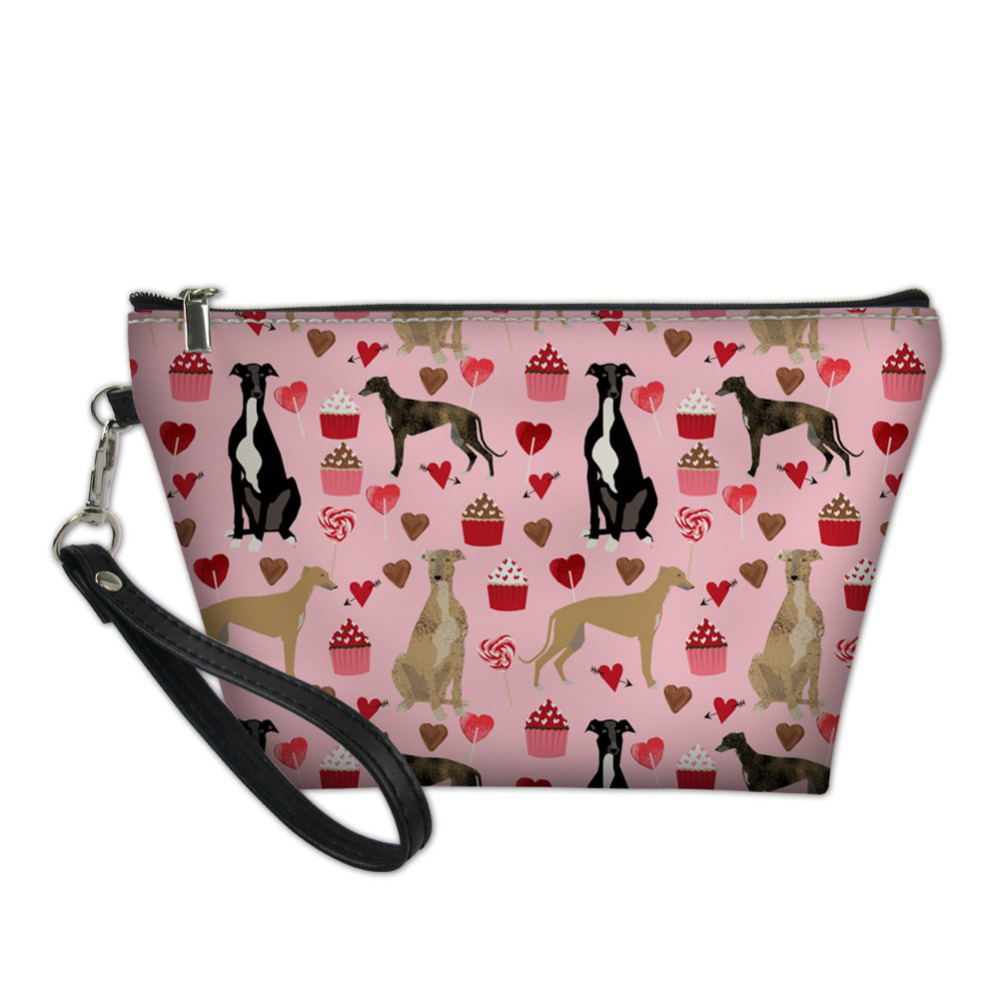 NOISYDESIGNS Pink Greyhound Dog Pet Printing Women Makeup Bag Girls Cosmetic Bag Portable Beauty Pouch Organizer Toiletry Kit