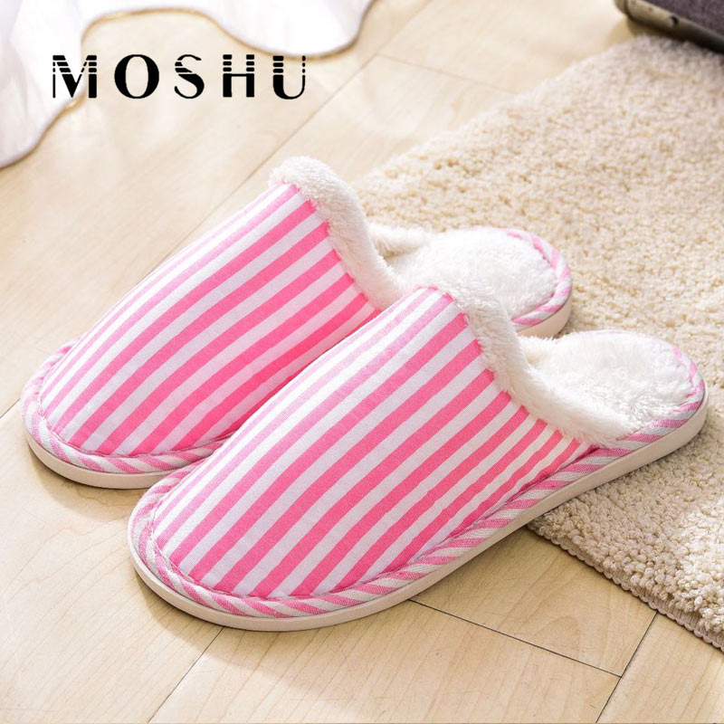Autumn Winter Home Slippers Women Non-slip Soft Thick Soles Striped Indoor Slippers Warm Cotton Couple Floor Shoes Fur Slides women s winter furry slippers home non slip soft couples cotton thick bottom indoor warm rubber clogs woman shoes