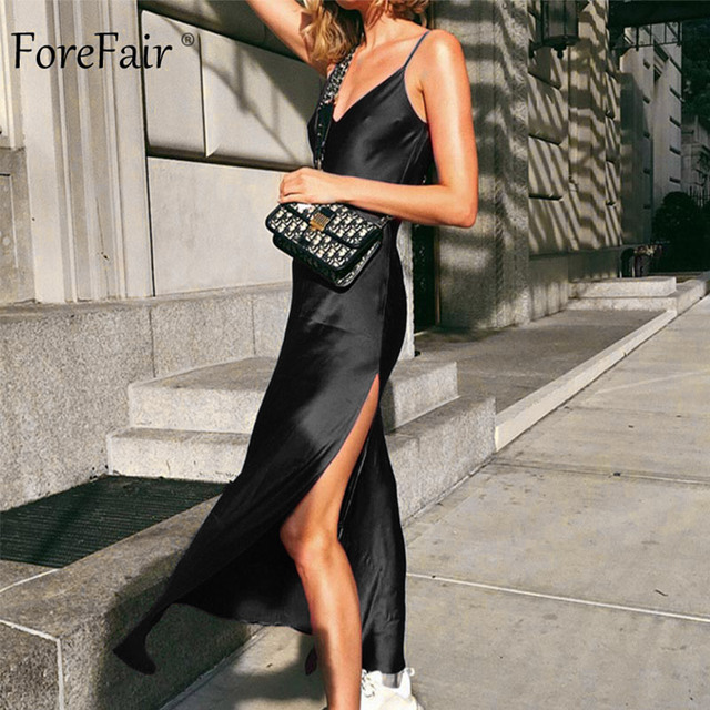 Forefair Sexy Maxi Satin Dress Summer Women Spaghetti Strap V Neck High Waist Slit Backless Black Red Silk Long Dress Party Club