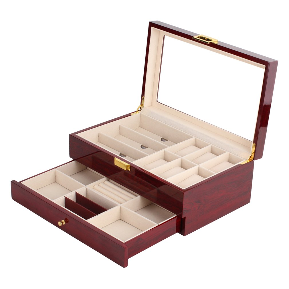 OUTAD Vintage Wooden Double Layers Watch Box 6 Grids Watch Holder Glasses Storage Rings Bracelet  Box Case Jewelry Display Case russia s old elm purple yu pure real wood double box box jade jewelry bracelet receive a cassette of the lock