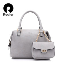 b22c1cb6505b Realer Сумочка женская повседневная сумка фирменный Дизайн Женские  однотонные Бостон сумка плечо сумки цепь сцепления кошелек