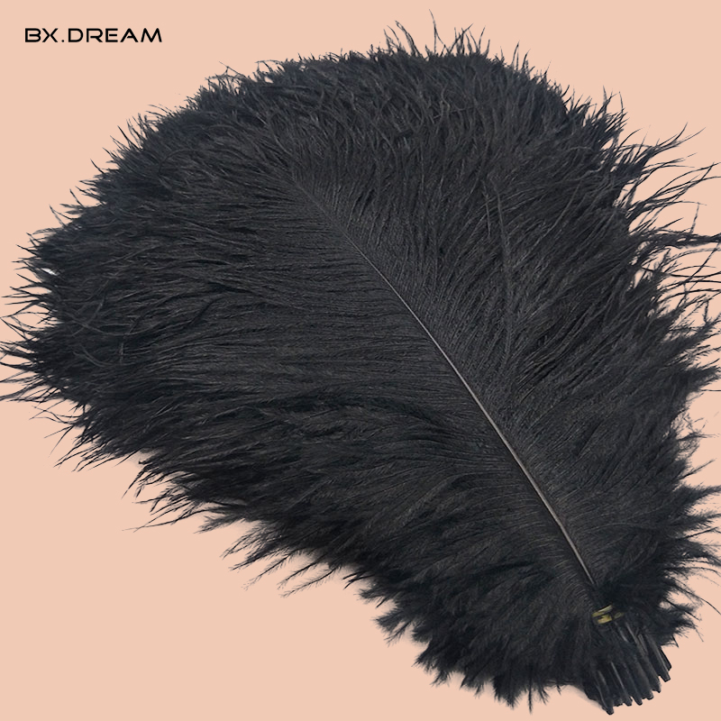 Wholesale 50 pieces lot natural ostrich feather black for craft 40 45CM carnival costume wedding hotel