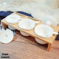 Simple life 4 Piece/Set Wooden Seasoning jar food containers jars for spices organizer sugar bowl kitchen storage box bottles