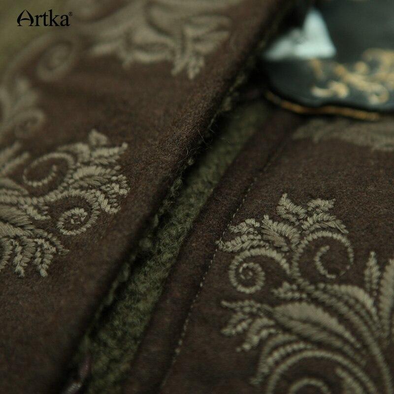 ARTKA de invierno de las mujeres nuevo Vintage lana cálida Sudadera con capucha capa abrigo bordado de la gota-hombro manga Cabo de lana prendas de vestir exteriores WA10220D - 5
